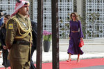 Jordan's Queen Rania arrives for the opening of  Parliament in Amman, Jordan, Sunday, Nov. 10, 2019. During a speech to Parliament, King Abdullah II announced