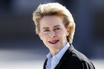 FILE - In this March 15, 2017 file photo, German Defense Minister Ursula von der Leyen waits for talks at the Defense Ministry in Berlin.  EU leaders reconvened Tuesday July 2, 2019, for a formal summit to consider a list of top job candidates that may have Ursula von der Leyen becoming president of the executive European Commission.(AP Photo/Markus Schreiber, file)
