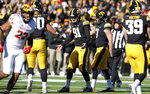Iowa place kicker Miguel Recinos (91) celebrates with teammates after kicking a 23-yard field goal in the first half of an NCAA college football game against Maryland, Saturday, Oct. 20, 2018, in Iowa City, Iowa. (AP Photo/Charlie Neibergall)