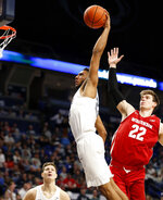 Penn State's Josh Reaves (23) goes up for a dunk against Wisconsin's Ethan Happ (22) during second half action of an NCAA college basketball game in State College, Pa. Sunday, Jan. 6, 2019. Wisconsin won 71-52. (AP Photo/Chris Knight)