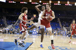 Washington State forward Jeff Pollard grabs a rebound against UCLA during the first half of an NCAA college basketball game Thursday, Feb. 13, 2020, in Los Angeles. (AP Photo/Marcio Jose Sanchez)