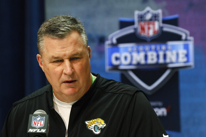 Jacksonville Jaguars head coach Doug Marrone speaks during a press conference at the NFL football scouting combine in Indianapolis, Tuesday, Feb. 25, 2020. (AP Photo/Charlie Neibergall)