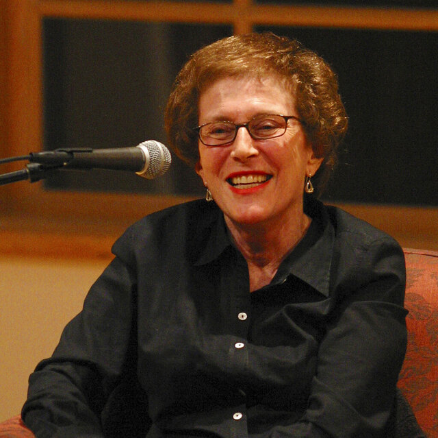 "In this 2003 photo provided by Patricia Williams is Joan Micklin Silver as she is being interviewed by Kenneth Turan at the National Yiddish Book Center in Amherst, Mass. Silver, who forged a path for female directors in both independent and Hollywood films with movies including ""Hester Street"" and ""Crossing Delancey,"" has died at age 85. Silver died from vascular dementia on Thursday, Dec. 31, 2020, at her home in New York, her daughter Claudia Silver told The Associated Press. (Patricia Williams via AP)"