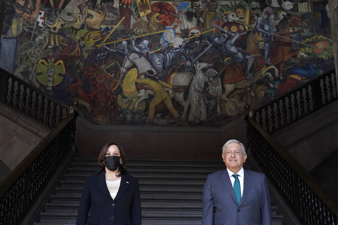 Vice President Kamala Harris poses for a photo with Mexican President Andres Manuel Lopez Obrador, Tuesday, June 8, 2021, at the National Palace in Mexico City. (AP Photo/Jacquelyn Martin)