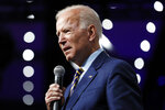 Democratic presidential candidate former Vice President Joe Biden speaks at the Presidential Gun Sense Forum, Saturday, Aug. 10, 2019, in Des Moines, Iowa. (AP Photo/Charlie Neibergall)