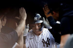 New York Yankees' Aaron Judge celebrates after hitting a three-run home run against the Minnesota Twins during the eighth inning of a baseball game on Monday, Sept. 13, 2021, in New York. (AP Photo/Adam Hunger)