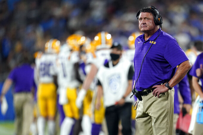 LSU head coach Ed Orgeron watches from the sideline in the closing minutes of the team's loss UCLA in an NCAA college football game Saturday, Sept. 4, 2021, in Pasadena, Calif. (AP Photo/Marcio Jose Sanchez)