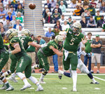 William & Mary's quarterback Kilton Anderson throws a pass during the first half of an NCAA college football game against Villanova Saturday, Oct. 5, 2019 in Williamsburg, Va. (Mike Caudill/The Virginian-Pilot via AP)