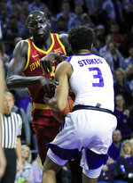 Kansas State guard Kamau Stokes, right, steals the ball from Iowa State guard Marial Shayok, left, during the first half of an NCAA college basketball game in Manhattan, Kan., Saturday, Feb. 16, 2019. (AP Photo/Orlin Wagner)