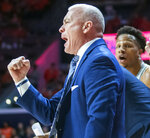 Penn State' head coach Pat Chambers during the first half  during the first half of an NCAA college basketball game against Illinois in Champaign, Ill., Saturday, Feb. 23, 2019.(AP Photo/Robin Scholz)