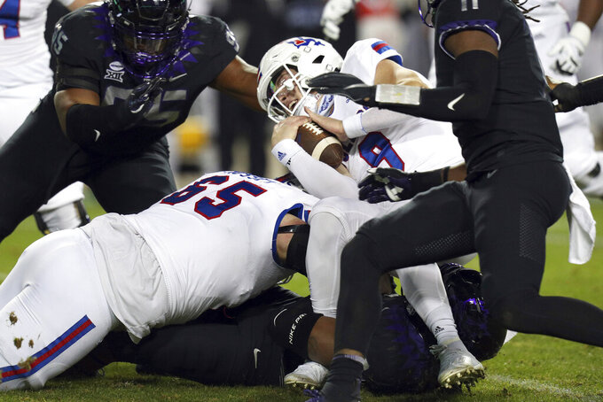 Louisiana Tech quarterback Luke Anthony (9) is sacked in the first half during an NCAA college football game, Saturday, Dec. 12, 2020. (AP Photo/ Richard W. Rodriguez)