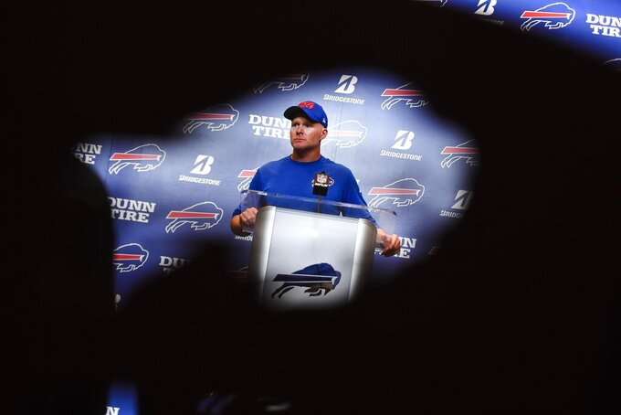 Buffalo Bills head coach Sean McDermott speaks during a news conference after an NFL football game against the Cincinnati Bengals Sunday, Sept. 22, 2019, in Orchard Park, N.Y. The Bills won 21-17. (AP Photo/Adrian Kraus)