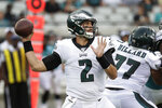 Philadelphia Eagles quarterback Cody Kessler (2) throws a pass during the first half of an NFL preseason football game against the Jacksonville Jaguars, Thursday, Aug. 15, 2019, in Jacksonville, Fla. (AP Photo/John Raoux)