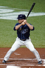 Tampa Bay Rays' Joey Wendle bats against the Boston Red Sox during the first inning of a baseball game Friday, Sept. 11, 2020, in St. Petersburg, Fla. Wendle is part of the Rays' all-lefty batting order against Boston. (AP Photo/Chris O'Meara)