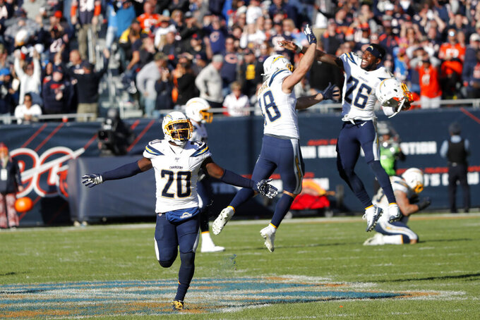 Los Angeles Chargers defensive back Desmond King (20) celebrates with teammates at the end of an NFL football game against the Chicago Bears, Sunday, Oct. 27, 2019, in Chicago. Chicago Bears kicker Eddy Pineiro missed a field goal on the final play of the game as the Chargers won 17-16. (AP Photo/Charles Rex Arbogast)
