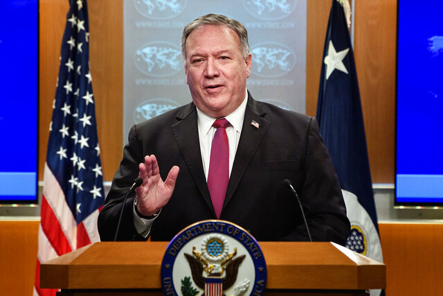 Secretary of State Mike Pompeo speaks during a news conference at the State Department in Washington, Wednesday, Oct. 21, 2020. (Nicholas Kamm/Pool via AP)