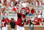 Oklahoma quarterback Spencer Rattler (7) throws a pass against Tulane during a NCAA college football game Saturday, Sept. 4, 2021, in Norman, Okla. (AP Photo/Alonzo Adams)