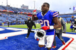 Buffalo Bills running back Frank Gore (20) walks off the field after the Bills beat the Denver Broncos 20-3 in an NFL football game, Sunday, Nov. 24, 2019, in Orchard Park, N.Y. (AP Photo/Adrian Kraus)