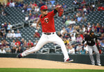 Minnesota Twins pitcher Jose Berrios throws against the Chicago White Sox in the first inning of a baseball game Monday, Sept. 16, 2019, in Minneapolis. (AP Photo/Tom Olmscheid)