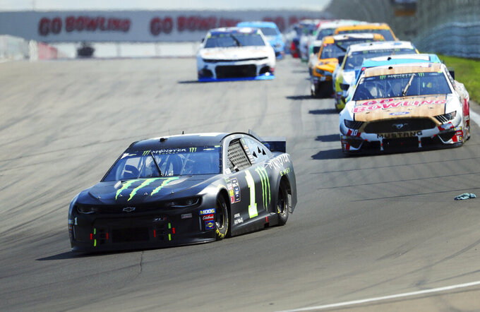 Kurt Busch heads into Turn 1 during a NASCAR Cup Series auto race at Watkins Glen International, Sunday, Aug. 4, 2019, in Watkins Glen, N.Y. (AP Photo/John Munson)