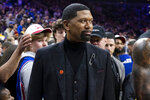 FILE - In this Jan. 25, 2020, file photo, ESPN analyst Jalen Rose looks on prior to an NBA basketball game between the Los Angeles Lakers and the Philadelphia 76ers in Philadelphia. In a week in which racial injustice took center stage following the events in Wisconsin, Black sports media personalities came to the forefront with their views and drove dialogue not seen on many other platforms. While Chris Webber and Rose said the conversations were meaningful, it wasn't the first time. (AP Photo/Chris Szagola, File)