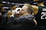 Michigan State head coach Tom Izzo, right, celebrates after an NCAA men's East Regional final college basketball game against Duke, Sunday, March 31, 2019, in Washington. Michigan State won 68-67. (AP Photo/Patrick Semansky)
