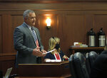 Alaska state Sen. Mike Shower speaks during Senate floor debate on the dividend check paid to residents on Tuesday, Sept. 14, 2021, in Juneau, Alaska. Tuesday was the last day of a special legislative session. (AP Photo/Becky Bohrer)