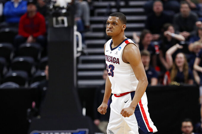 Gonzaga guard Zach Norvell Jr. (23) reacts after a 3-pointer in the first half against the Fairleigh Dickinson in a first-round game in the NCAA men's college basketball tournament Thursday, March 21, 2019, in Salt Lake City. (AP Photo/Jeff Swinger)