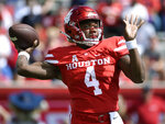 Houston quarterback D'Eriq King drops back to pass during the first half of an NCAA college football game against Arizona, Saturday, Sept. 8, 2018, in Houston. (AP Photo/Eric Christian Smith)