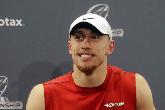 San Francisco 49ers tight end George Kittle speaks at a news conference at the team's NFL football training facility in Santa Clara, Calif., Thursday, Jan. 16, 2020. The 49ers are scheduled to host the Green Bay Packers in the NFC Championship game Sunday. (AP Photo/Jeff Chiu)