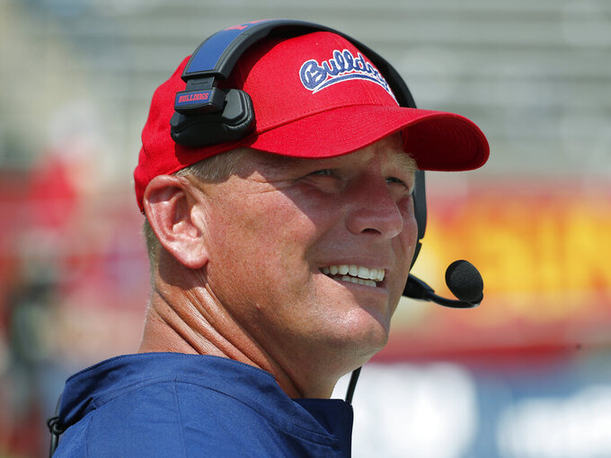 Fresno State coach Kalen DeBoer watches the team play Connecticut during the second half of an NCAA college football game in Fresno, Calif., Saturday, Aug. 28, 2021. (AP Photo/Gary Kazanjian)