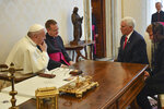 "Pope Francis shares a word with US Vice President Mike Pence, second from right, on the occasion of their private audience, at the Vatican, Friday, Jan. 24, 2020. Pence told Pope Francis, ""You made me a hero"