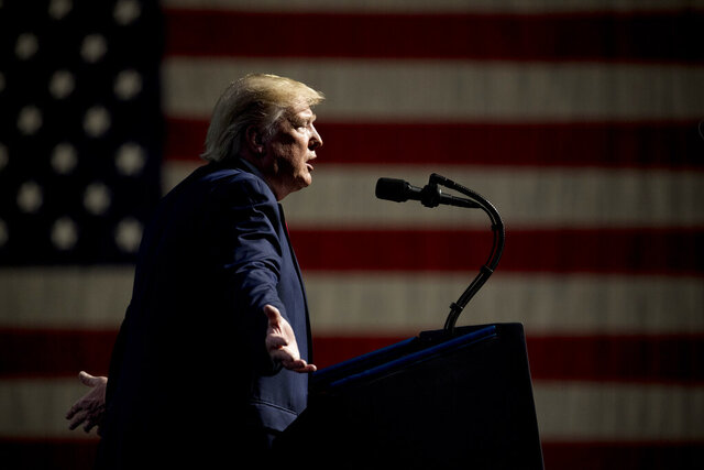 President Donald Trump speaks at the Turning Point USA Student Action Summit at the Palm Beach County Convention Center in West Palm Beach, Fla., Saturday, Dec. 21, 2019. (AP Photo/Andrew Harnik)
