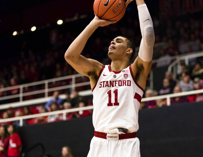 Stanford forward Jaiden Delaire takes a 3-point shot against Colorado during the first half of an NCAA college basketball game in Stanford, Calif., Saturday, Jan. 26, 2019. (AP Photo/John Hefti)
