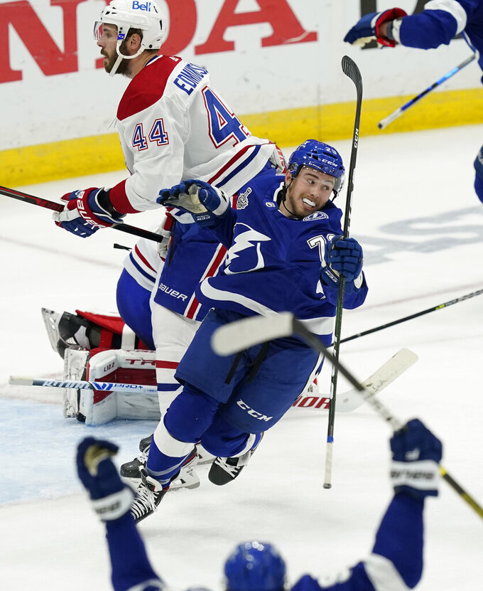 Tampa Bay Lightning left wing Ross Colton reacts after scoring on Montreal Canadiens goaltender Carey Price during the second period in Game 5 of the NHL hockey Stanley Cup finals, Wednesday, July 7, 2021, in Tampa, Fla. (AP Photo/Gerry Broome)
