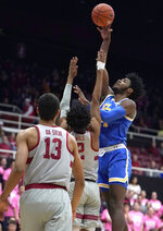 UCLA guard Jalen Hill (24) shoots over Stanford guard Bryce Wills (2) during the first half of an NCAA college basketball game Saturday, Feb. 16, 2019, in Stanford, Calif. (AP Photo/Tony Avelar)