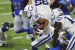 Indianapolis Colts running back Jonathan Taylor rushes during the first half of an NFL football game against the Detroit Lions, Sunday, Nov. 1, 2020, in Detroit. (AP Photo/Tony Ding)