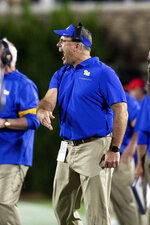 Pittsburgh coach Pat Narduzzi shouts during the first half of the team's NCAA college football game against Duke in Durham, N.C., Saturday, Oct. 5, 2019. (AP Photo/Ben McKeown)