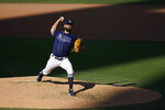 Tampa Bay Rays relief pitcher Nick Anderson pitches to the Houston Astros during the ninth inning in Game 2 of a baseball American League Championship Series, Monday, Oct. 12, 2020, in San Diego. The Rays defeated the Astros 4-2 to lead the series 2-0 games. (AP Photo/Gregory Bull)