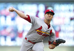 St. Louis Cardinals' pitcher Jack Flaherty throws to a Minnesota Twins batter during the first inning of a baseball game Tuesday, May 15, 2018, in Minneapolis. (AP Photo/Jim Mone)