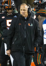 Miami coach Mark Richt walks the sideline during the second half of the team's NCAA college football game against Georgia Tech, Saturday, Nov. 10, 2018, in Atlanta. Georgia Tech won 27-21. (AP Photo/John Amis)