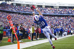 Buffalo Bills tight end Dawson Knox (88) makes a catch for a touchdown during the first half of an NFL football game against the Washington Football Team, Sunday, Sept. 26, 2021, in Orchard Park, N.Y. (AP Photo/Jeffrey T. Barnes)
