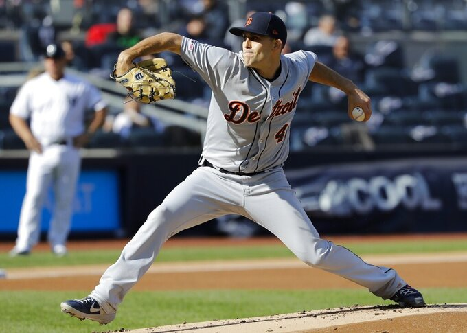 Detroit Tigers' Matthew Boyd delivers a pitch during the first inning of a baseball game against the New York Yankees Wednesday, April 3, 2019, in New York. (AP Photo/Frank Franklin II)