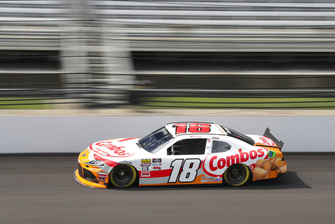 NASCAR Xfinity Series driver Kyle Busch drives down the main straightaway during NASCAR Xfinity auto racing practice at Indianapolis Motor Speedway, Friday, Sept. 6, 2019 in Indianapolis. (AP Photo/Michael Conroy)