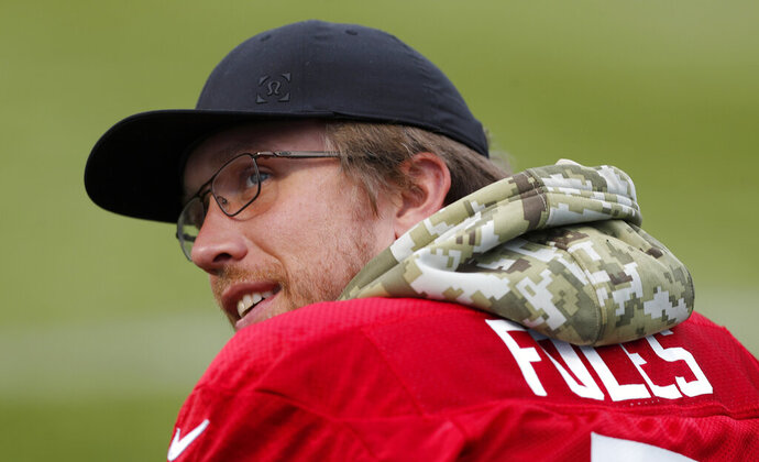 Jaguars QB Nick Foles during a NFL training session of the Jacksonville Jaguars at the at Allianz Park in London, Friday, Nov. 1, 2019.The Jacksonville Jaguars are preparing for an NFL regular season game against the Houston Texans in London on Sunday. (AP Photo/Frank Augstein)