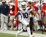 Arizona wide receiver Jamarye Joiner runs down the sideline during the first quarter of the team's NCAA college football game against Hawaii on Saturday, Aug. 24, 2019, in Honolulu. (AP Photo/Marco Garcia)