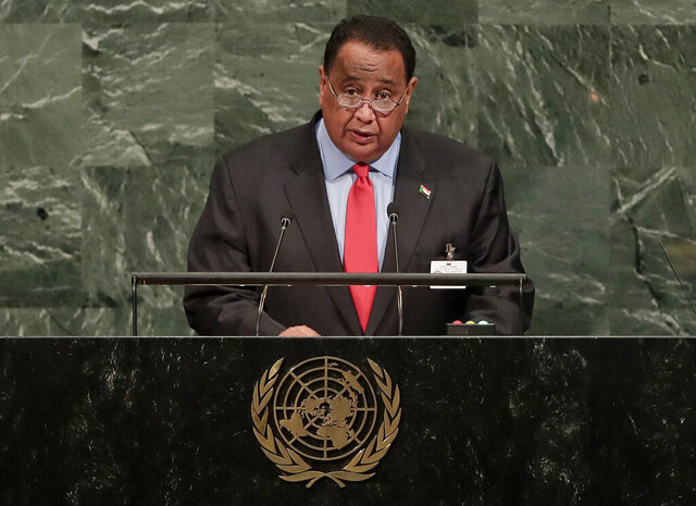 FILE - In this Sept. 23, 2017 file photo, then Sudanese Minister of Foreign Affairs Ibrahim Ghandour speaks during the 72nd session of the United Nations General Assembly, at U.N. headquarters. On Tuesday, June 30, 2020, Sudanese protesters returned to the streets to pressure transitional authorities, demanding justice for those killed in the uprising last year that led to the military's ouster of longtime autocrat Omar al-Bashir. Ghandour, head of the now dissolved National Congress Party, was arrested Monday from his Khartoum home, the party said in a statement. (AP Photo/Julie Jacobson, File)