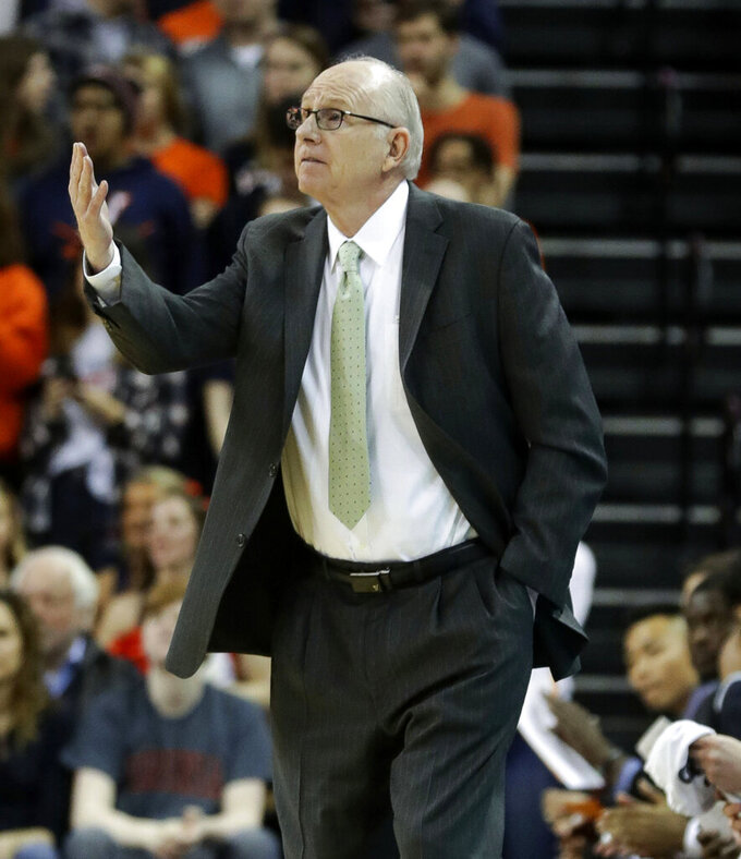Miami head coach Jim Larranaga calls a play during an NCAA college basketball game against Miami Saturday, Feb. 2, 2019, in Charlottesville, Va. (AP Photo/Andrew Shurtleff)