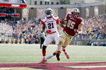 Boston College tight end Korab Idrizi (85) rushes for a touchdown ahead of Richmond defensive back Trent Williams (21) during the first half of an NCAA college football game, Saturday, Sept. 7, 2019, in Boston. (AP Photo/Mary Schwalm)