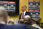 Democratic presidential contender Cory Booker speaks at a round table discussion on issues impacting black men on Monday, Dec. 2, 2019, at his campaign headquarters in Columbia, S.C. (AP Photo/Meg Kinnard)